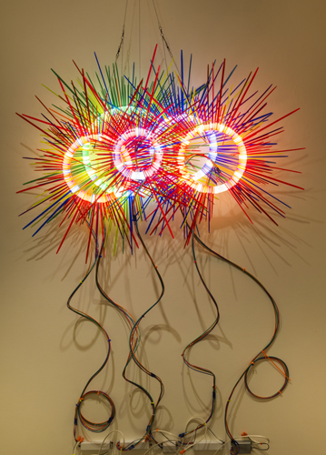 """five together ,2014 florescent lights, zip ties, and electric wiring  58 x 53 x 14"""""""