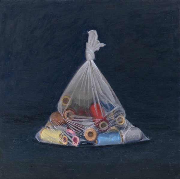 spools , 2013 oil on linen 20 x 20 inches