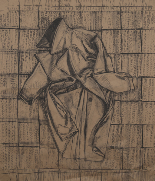 inside-out coat , 2013 charcoal on paper 48 x 48 inches