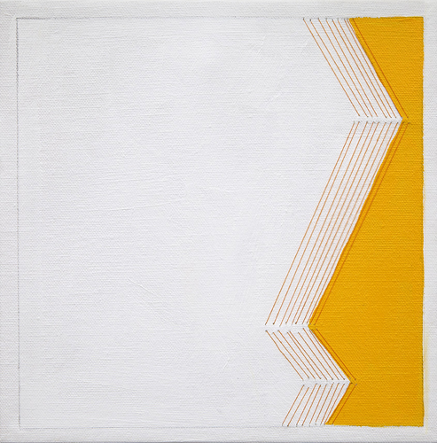bend #1 , 2013 acrylic and thread on canvas 10 x 10""