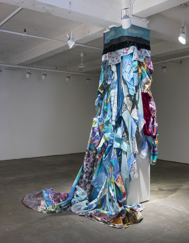 fall , 2014 fabrics, dyes, wax, acrylic, thread site specific