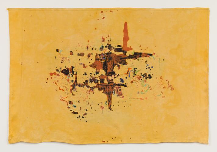 """gluck auf reise! , 2014 Linen, dyes, thread  42 x 63"""""""