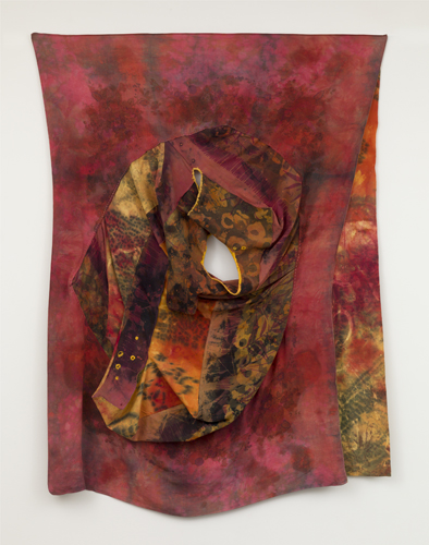 portrait , 2014 fabrics, dyes, wax, thread   80 x 60""