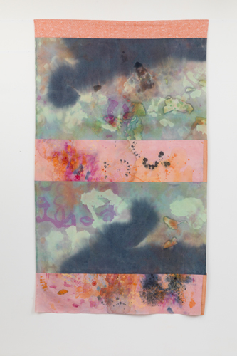 reef,  2013 fabrics, dyes, wax, acrylic, thread  93 x 55""