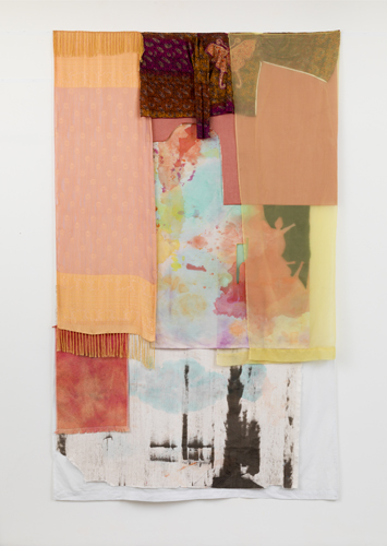 soiree , 2014 fabrics, dyes, wax, acrylic, thread  96 x 60""