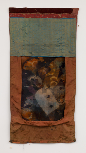 tangka b , 2014 fabrics, leather, dyes, wax, thread  73 x 37""