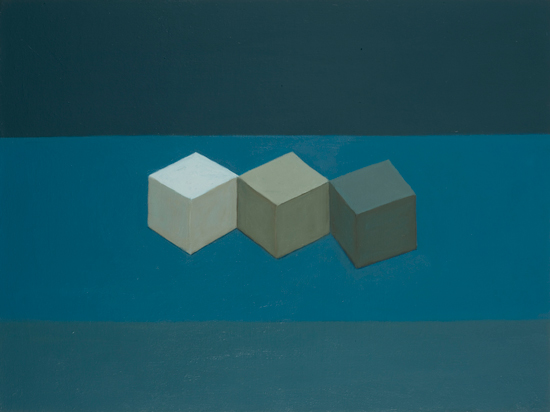 still life with shades of blue , 2007 oil on canvas 18 x 24 inches