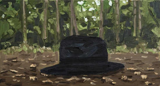 the hat in the forest , 2012 oil on canvas  16 x 30""