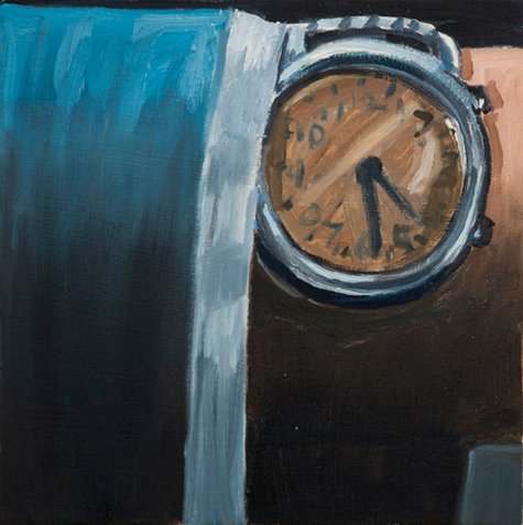 watch , 2012 oil on canvas 16 x 16""