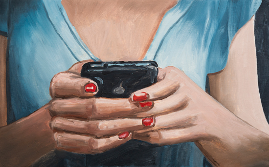 woman texting , 2012 oil on canvas 16 x 30""