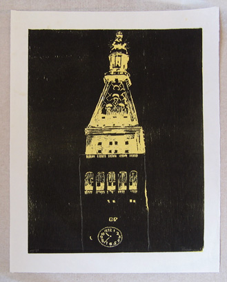 "new york noir (a) , 1998 woodcut on paper 26"" x 16"" (image)"