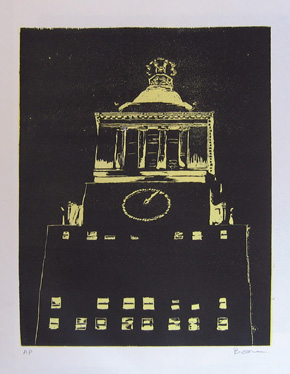 "new york noir (b) , 1998 woodcut on paper 24"" x 16"" (image)"