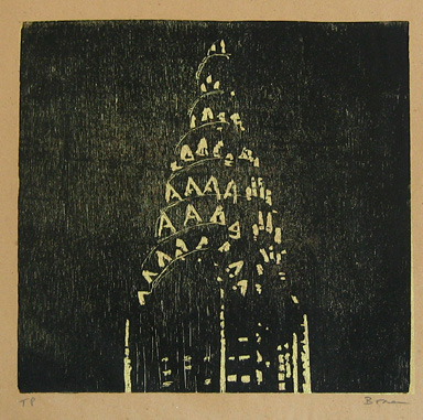 "new york noir chrysler (C) , 1998 woodcut on paper 17 3/4"" x 16"" (image)"
