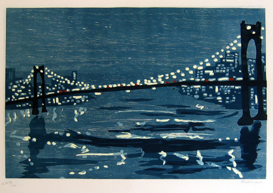 "new york bridge (a) , 1997 woodcut on rice paper 18"" x 25"" (image)"