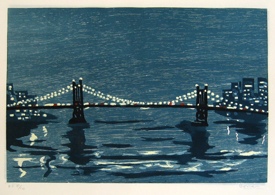 "new york bridge (b) , 1997 woodcut on rice paper 18"" x 25"" (image)"
