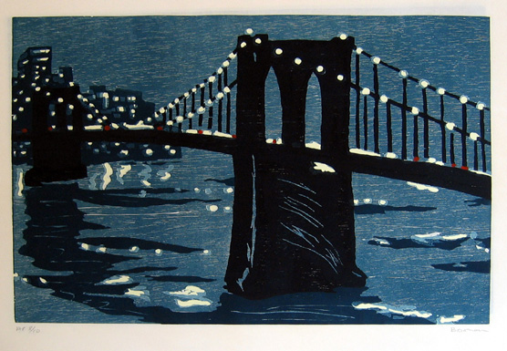 "new york bridge (c) , 1997 woodcut on rice paper 18"" x 25"" (image)"