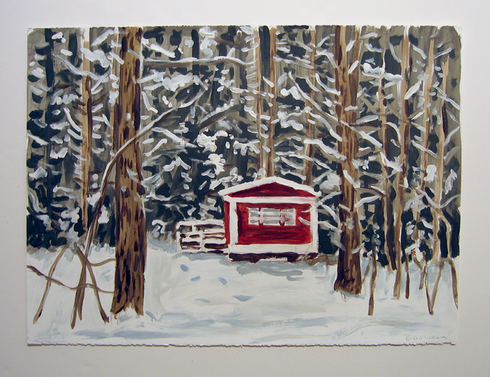 "red cabin , 2006  acrylic on paper  22"" x 30"""