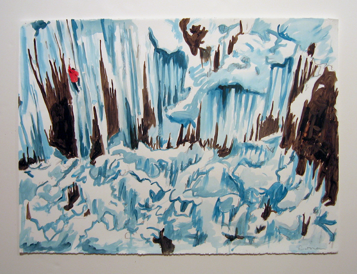 "study for ice climber , 2006 acrylic on paper 22"" x 30"""