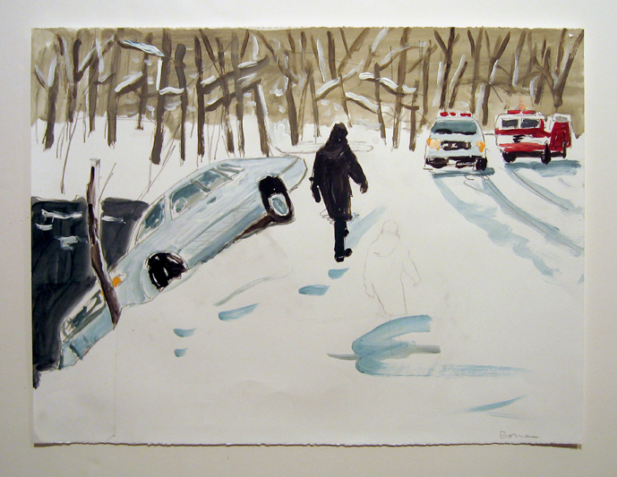 "study for ice storm , 2006 acrylic on paper 22"" x 30"""