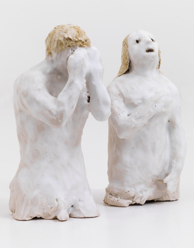 "adam and eve , 2014 glazed porcelain  4.25 x 4.75 x 2"""