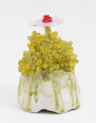 "yellow bead flower , 2013 glazed stoneware and porcelain, glass beads  4.5 x 3.5 x 3.5"""