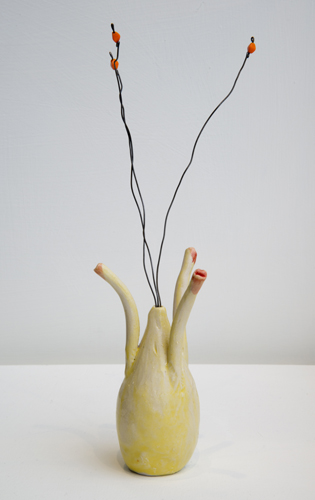 yellow flower (3) , 2014 glazed porcelain, wire, and beads 9 x 2.5 x 2.5""