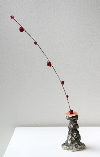 pink flower with red beads , 2014 glazed stoneware and porcelain, wire, and glass beads 16 x 8 x 3""