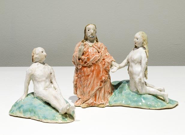 "adam, eve, god (after bosch) , 2014 glazed porcelain 6 x 12 x 6"""