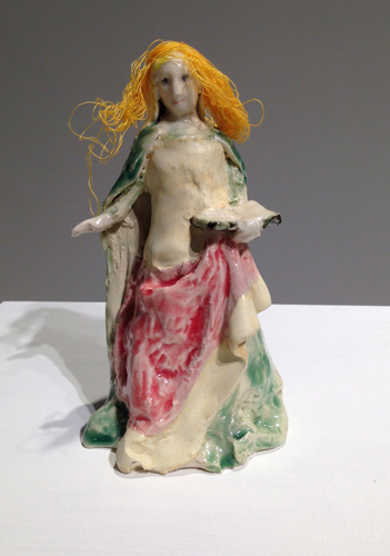 catherine of alexandria after josse lieferinxe , 2013 glazed porcelain and thread 6 x 3.5 x 3""