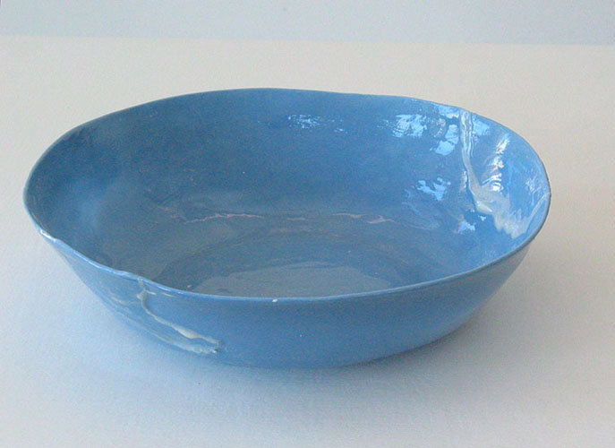 blue bowl , 2010 porcelain and glaze 2 x 6.5 inches