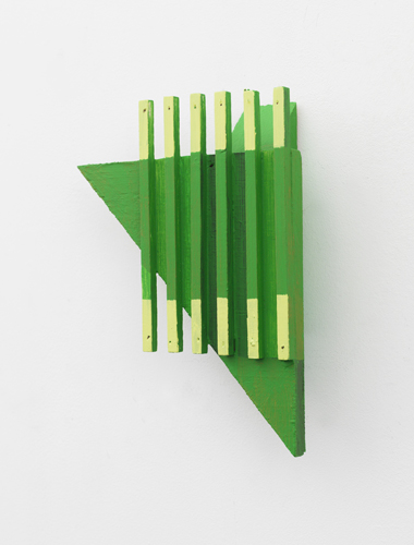 Green thing , 2013 acrylic on wood 9 x 6.5 x 2""