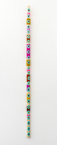 Totem , 2013 acrylic and fabric on wood 63 x 2 x 2""