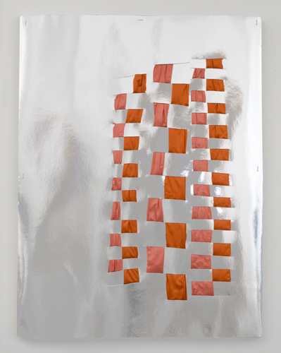 Interwoven reflections , 2011 fabric and reflective cardboard 32 x 24""
