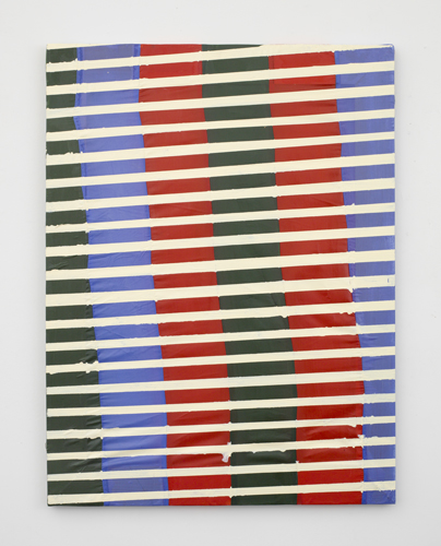 Stripped,  2011 acrylic and sewn fabric 32 x 24""