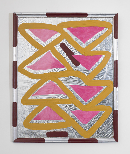 pink triangles,  2011 acrylic and aluminum foil in/on glass frame 15 x 12""