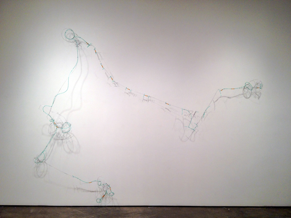 Fuse Revisited , 2011 stainless steel wire, plastic tubing 97 x 123 x 14 inches