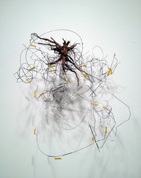 Two Tangles , 2011 stainless steel wire, plastic tubing, root 20 x 19 ½ x 18 inches