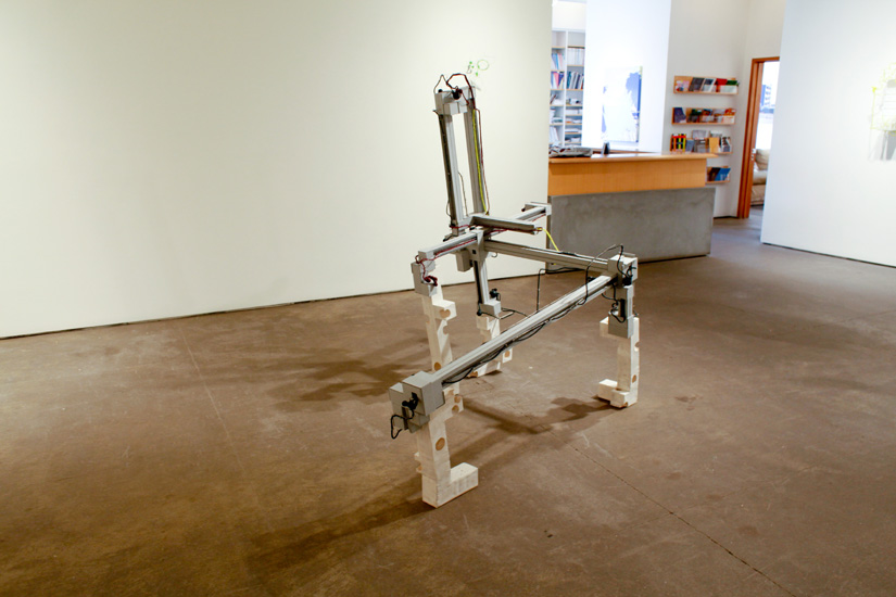 "Manipulator , 2009 archival card board, hydrostone,  stainless steel wire, silicone rubber  65 "" x 79 "" x 44 1/2"""