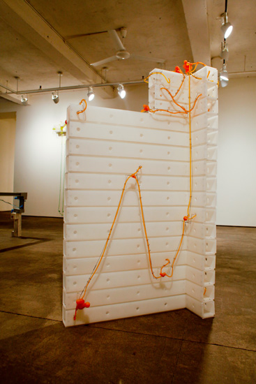 "Neuroblock , 2009 corrugated plastic, stainless steel wire, silicone rubber  59 3/4"" x 32"" x 16 """