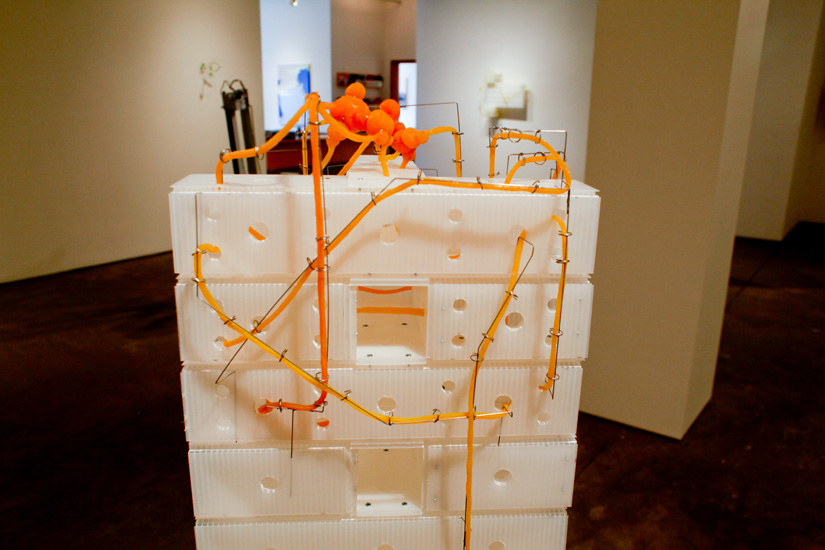 "Neuroblock , (Detail) 2009 corrugated plastic, stainless steel wire, silicone rubber  59 3/4"" x 32"" x 16 """