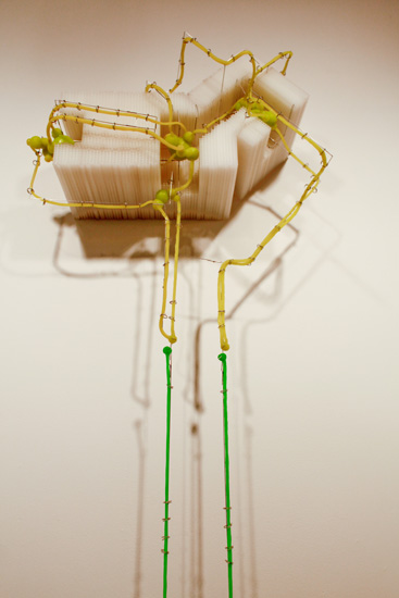 "That Other Place , (Detail) 2009-10 corrugated plastic, stainless steel wire, silicone rubber  100"" x 20 "" x 11 1/2 """