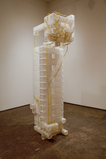 "Long Highway , 2010 corrugated plastic, stainless steel wire, silicone rubber  73 "" x 33 1/2 "" x 17 1/2 """