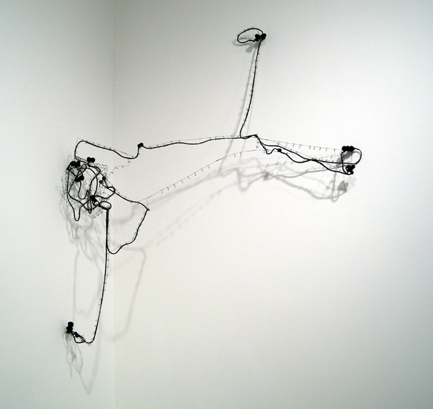 "Some Roads #30 , 2007 silicone, stainless steel wire 48 1/4""x 42 1/4""x 17 3/4"""