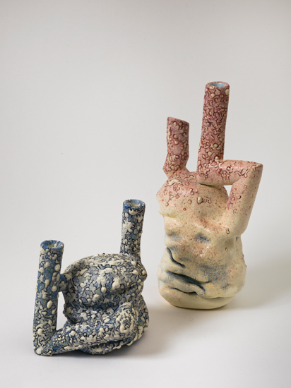 Dyad (3) (right) , 2011 glazed ceramics 12.5 x 7 x 5 inches   Blue Doodle (left) , 2011 glazed ceramics 7 x 7 x 6 inches