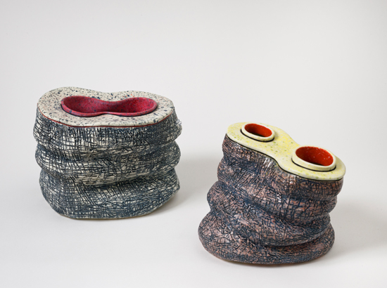 Quixote (right) , 2011 glazed ceramics 5.5 x 7 x 7 inches   Lip to Line (left) , 2011 glazed ceramics 6.5 x 8 x 6 inches