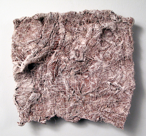 La Carta (10),  2009 handmade paper, thread, acrylic paint marble dust  14x15x3inches