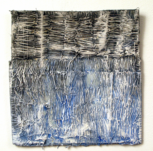 La Carta (11),  2009 paper, thread, acrylic paint, marble dust  9 x 7 inches
