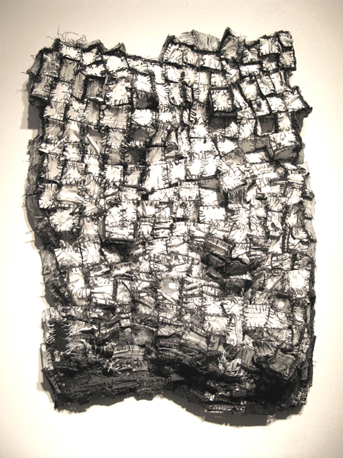 Recollection...drawing,  2007 cloth, paper, acrylic paint, thread 27 x 19 inches