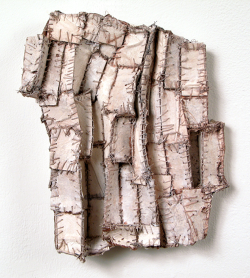 White Shadows (2),  2009 paper, cloth, thread, acrylic paint  9 x 7 x 1 inches