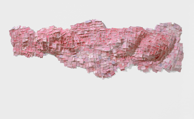 "Recollection...Pink (1) , 2006 paper, cloth, thread, acrylic paint, marble dust 28""x83""x6"""